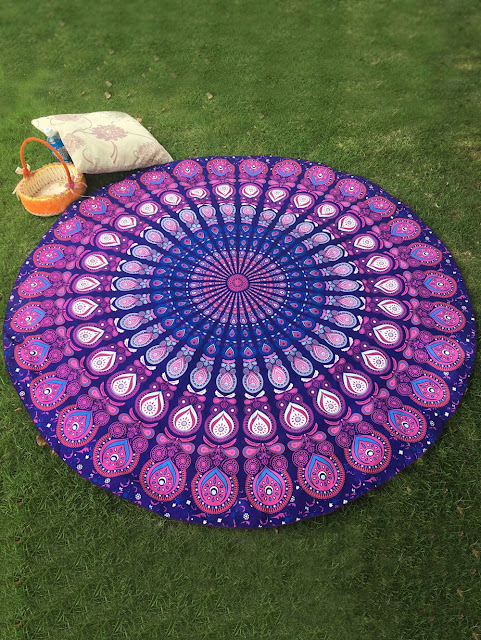 Arab Print Round Beach Throw