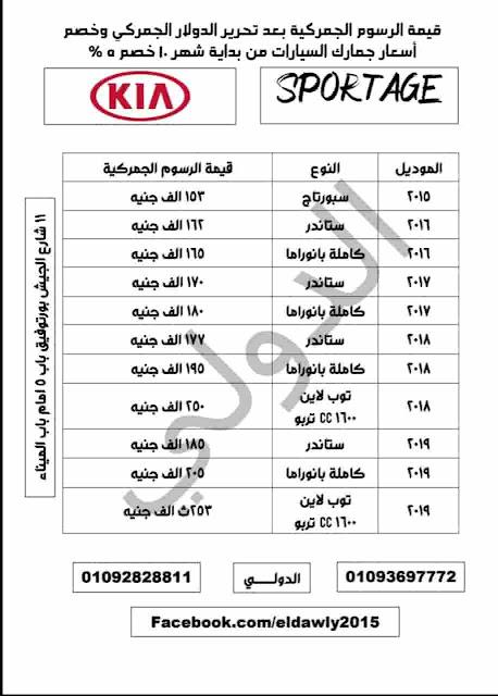 أسعار جمارك السيارات 2019