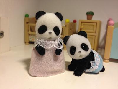 Sylvanian Families Bamboo Panda Twins Sleeping and Crawling bottle and dummy