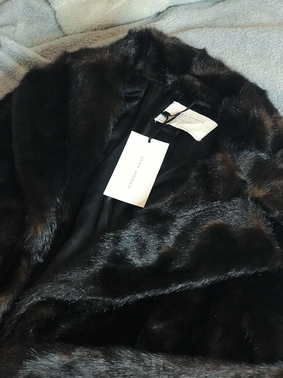 zara long fur coat brown black