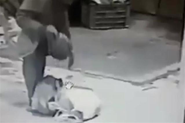 Video; Así captaron al vato en la central de abastos saboreando cabeza humana que cargaba en su mochila