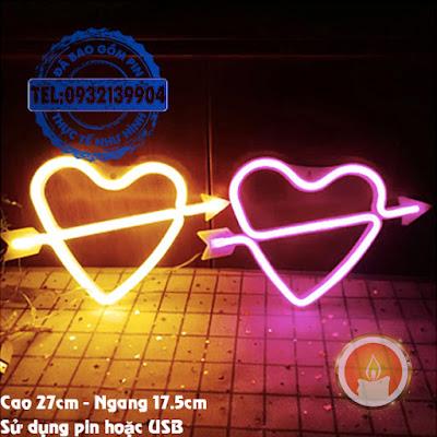 Đèn led neon mũi tên xuyên tim