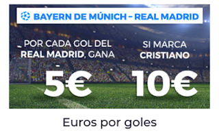 Paston Bayern vs Real Madrid: euros por goles 25 abril