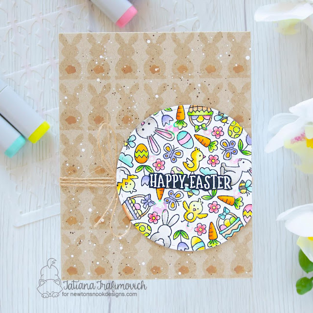 Happy Easter card by Tatiana Trafimovich | Spring Roundabout Stamp Set, Bunny Tails Stencil Set and Circle Frames Die Set by Newton's Nook Designs #newtonsnook