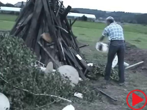 Carefully lightening a fire