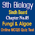 9th Biology Unit 5 Fungi & Algae MCQs Sindh Board
