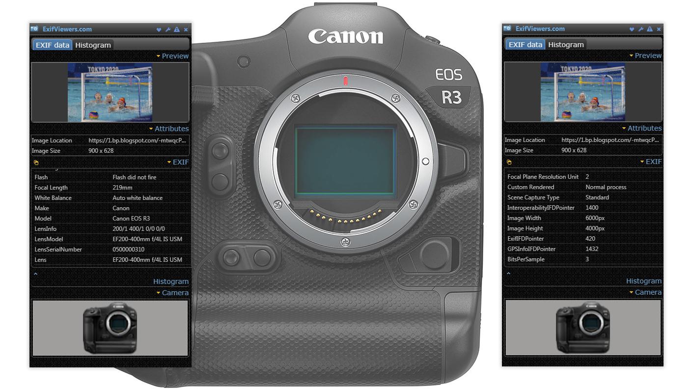 EXIF-данные камеры Canon EOS R3