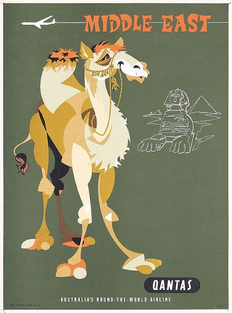 Quantas - Middle East Vintage Travel Poster