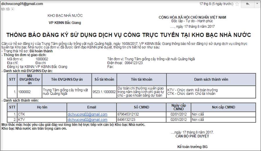 Hình 38 - Email thông báo hồ sơ đã được KBNN phê duyệt