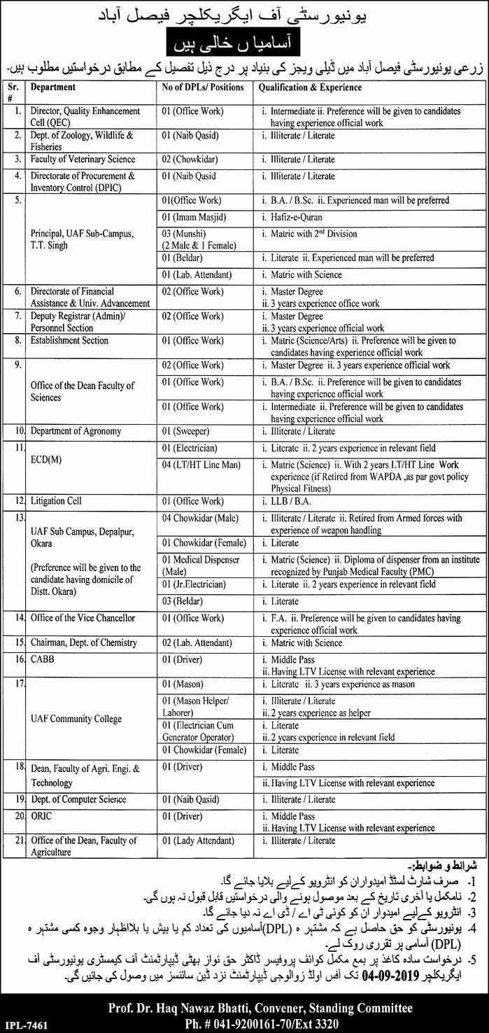 Vacancies in University Of Agriculture Faisalabad,