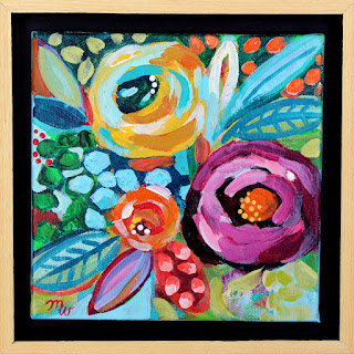 Flower Painting by artist Merrill Weber framed acrylic floral mini painting Celebration 104