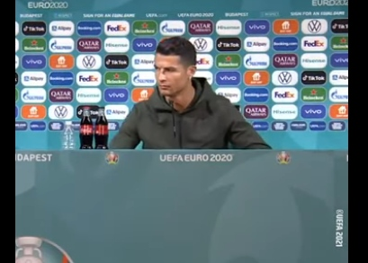 Euro 2020: Just this Gesture from Cristiano Ronaldo, Coca-Cola Loses $4 billion Within Hours (Video)