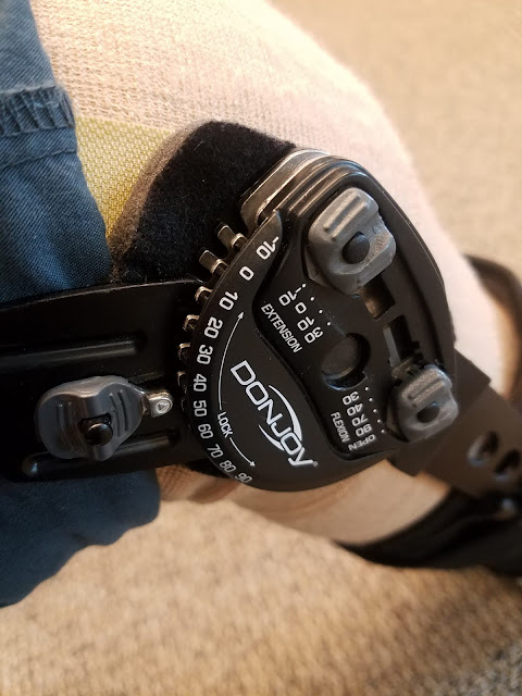 photo of a leg in a knee brace showing angle markings