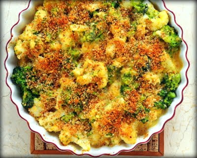 Cauliflower-Broccoli Gratin with Horseradish