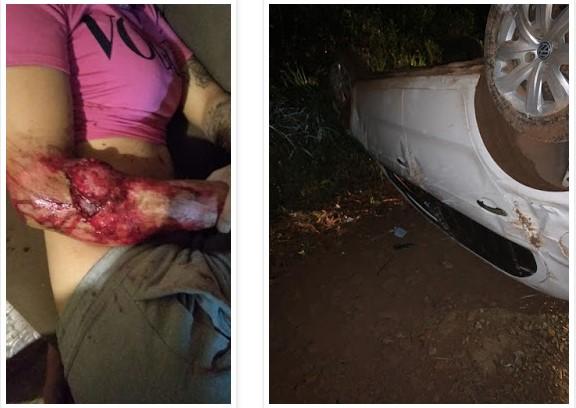Laranjeiras do Sul: Capotamento na madrugada deixa jovem ferida após saída de 'festinha'