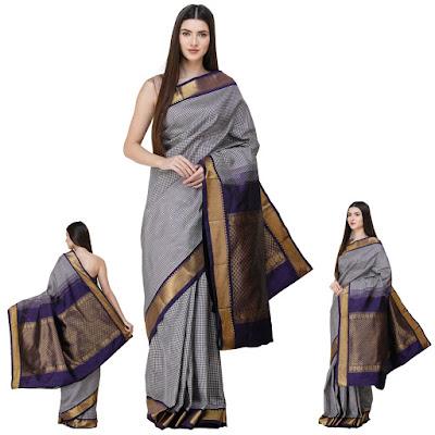 Blue-Ribbon Kanjivaram Sari from Bangalore