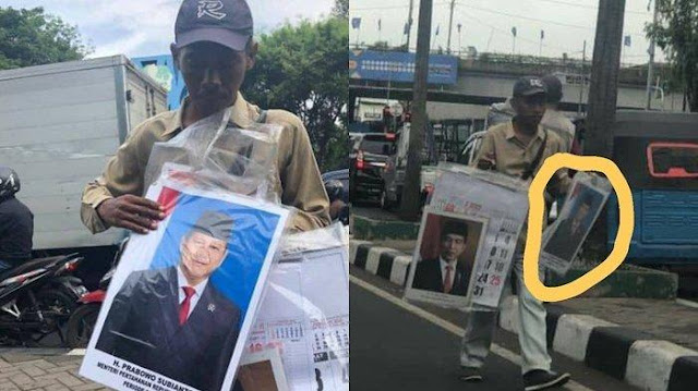 Bapak Ini Jualan Foto Presiden Jokowi dan Menhan Prabowo, Yang Laris Fotonya Pak Menhan