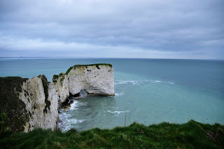 Photo of the sea from clifftop at Old Harry Rocks, Studland, UK