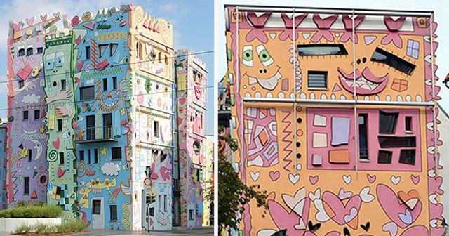 Artista transforma edificios monótonos en las caricaturas psicodélicas en Alemania