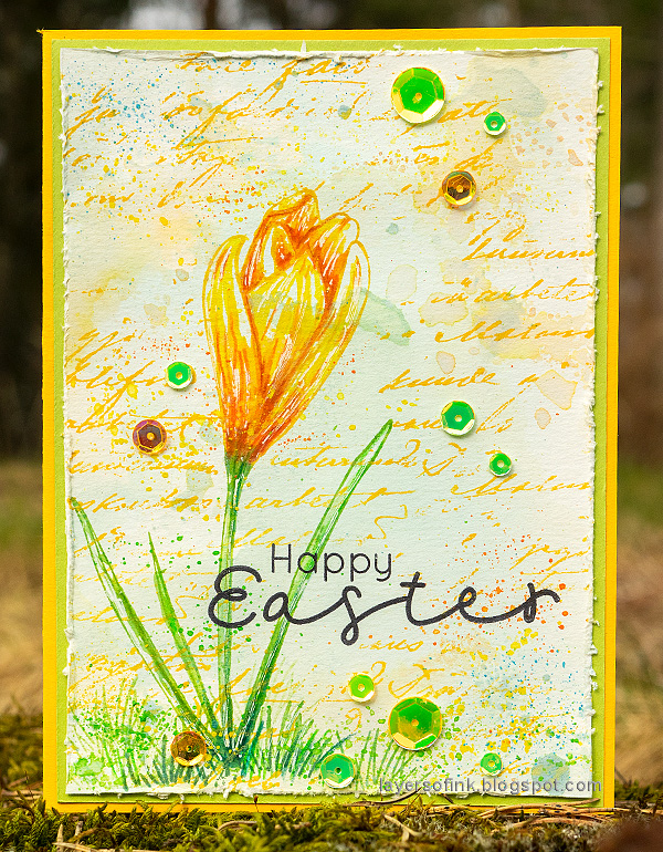 Layers of ink - Crocus in Watercolor and Pencil Tutorial by Anna-Karin Evaldsson. With Simon Says Stamp Thoughtful Flower stamp. Yellow crocus.