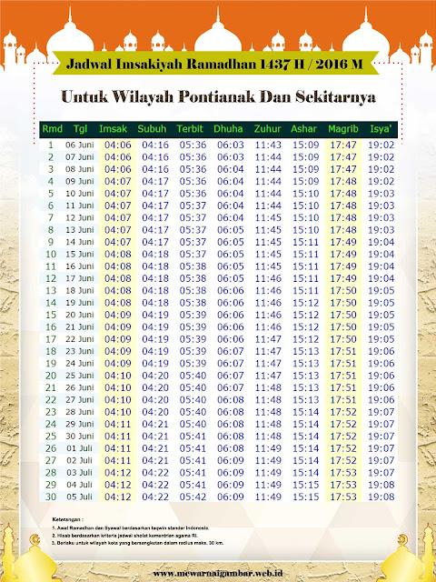 Jadwal Imsakiyah Ramadhan 1437 H / 2016 M Untuk Kota Pontianak