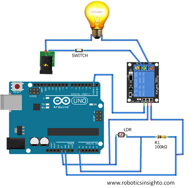 DIY Night Light automatic turn ON and OFF using Arduino, Relay and LDR