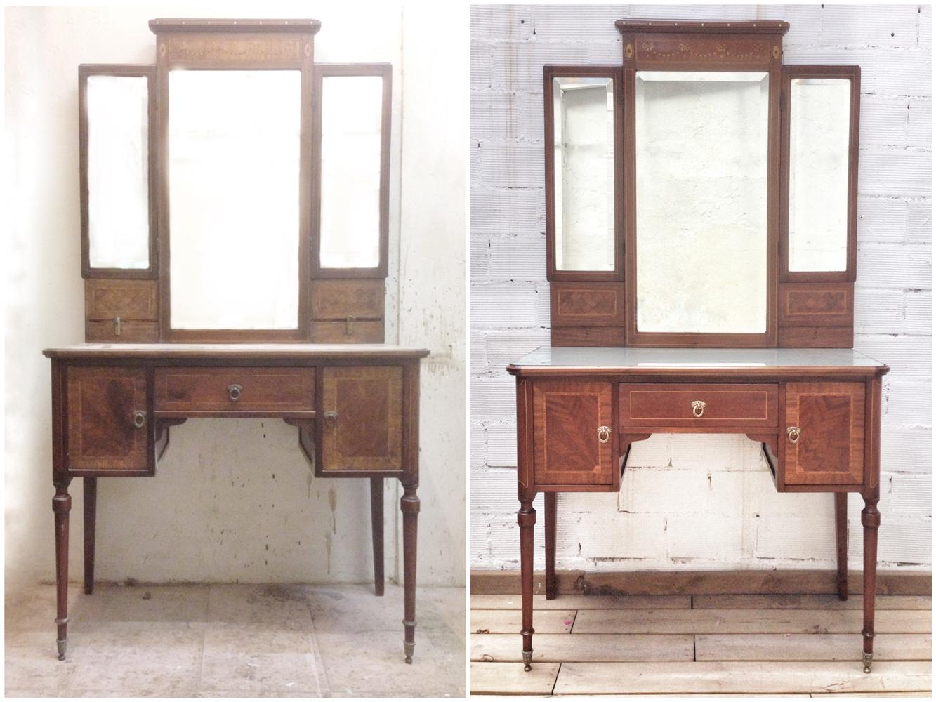 Antes y después - Tocador de caoba restaurado - Studio Alis