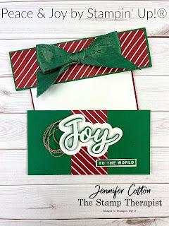 Gift card holder with Stampin' Up!'s Peace & Joy Bundle.  Retiring Jan 4, 2020!  Video link & supply list on the blog!  #StampinUp #StampTherapist