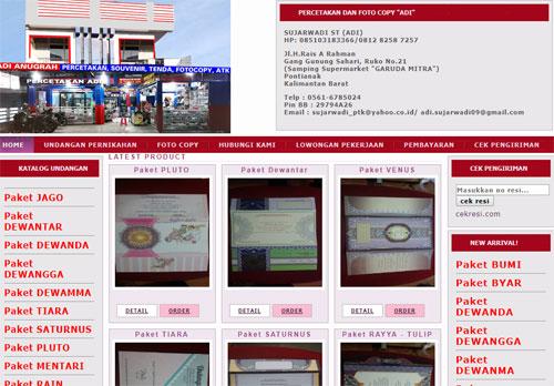 Website Percetakan khusus untuk Undangan Pernikahan milik ADI ANUGRAH Jalan Danau Sentarum Pontianak