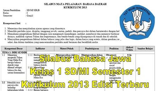 Silabus Bahasa Jawa Kelas 1 SD/MI Semester 1 Kurikulum 2013 Edisi Terbaru