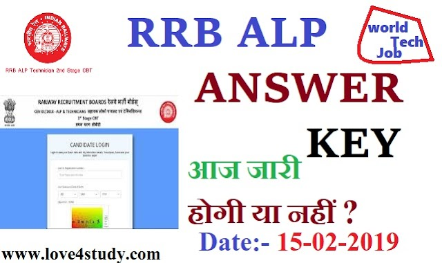 RRB ALP answer key 2019: Today will be issued