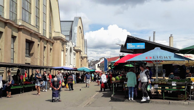 Near railway station in Central Market in Riga Latvija