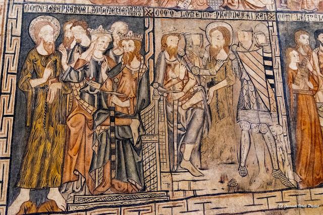 Pinturas murales (detalle 2) gótico lineal en San Sebastián de los Caballeros - Toro