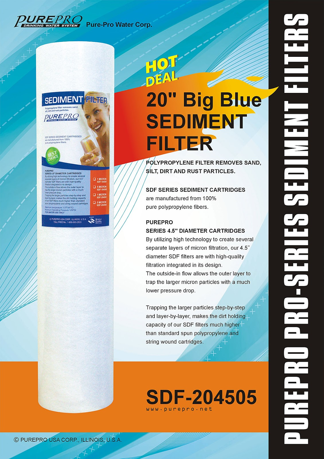 "PurePro® USA 20"" Big Blue Sediment Filter SDF-204505"