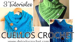 Bufandas Cortas con Estilo para Tejer en Casa / 3 Tutoriales Crochet
