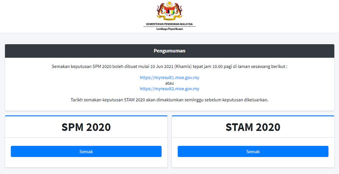 Cara Semak Keputusan SPM 2020 Online atau SMS