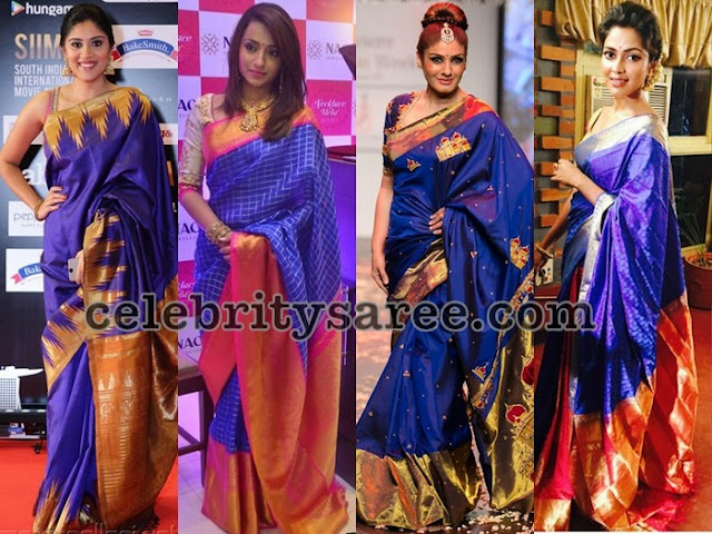 Celebrities-in-blue-traditional-silk-sarees