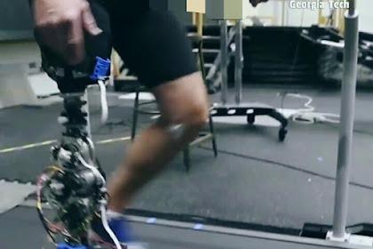 kaki robot yang memiliki lutut bertenaga sama dan sendi pergelangan kaki yang meniru kaki manusia