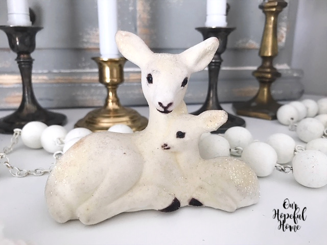 white felt doe fawn figurine glitter retro Christmas decor