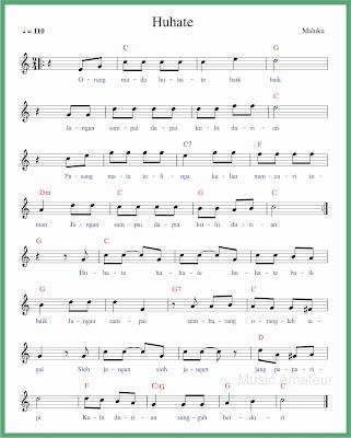 not balok lagu huhate