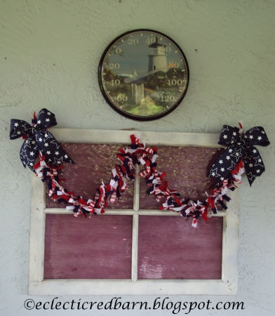 Eclectic Red Barn: 4th of July garlad on vintage window with temperature