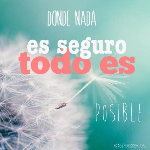Donde Nada Es Seguro Todo Es Posible - Frases Lindas