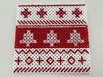 Scandi inspired Hama bead red and white mat