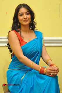 Telugu Actress Vaibhavi Stills in Blue Saree at Www.Meena Bazaar Movie Opening  0080.JPG