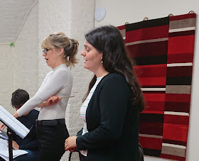Flora McIntosh and Georgia Mae Bishop in rehearsal for The Gardeners