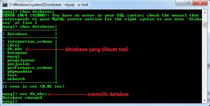 menciptakan database mysql bisa dilakukan dengan  Cara Membuat Database MySQL di Xampp dengan CMD