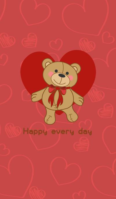 I love teddy bears - red