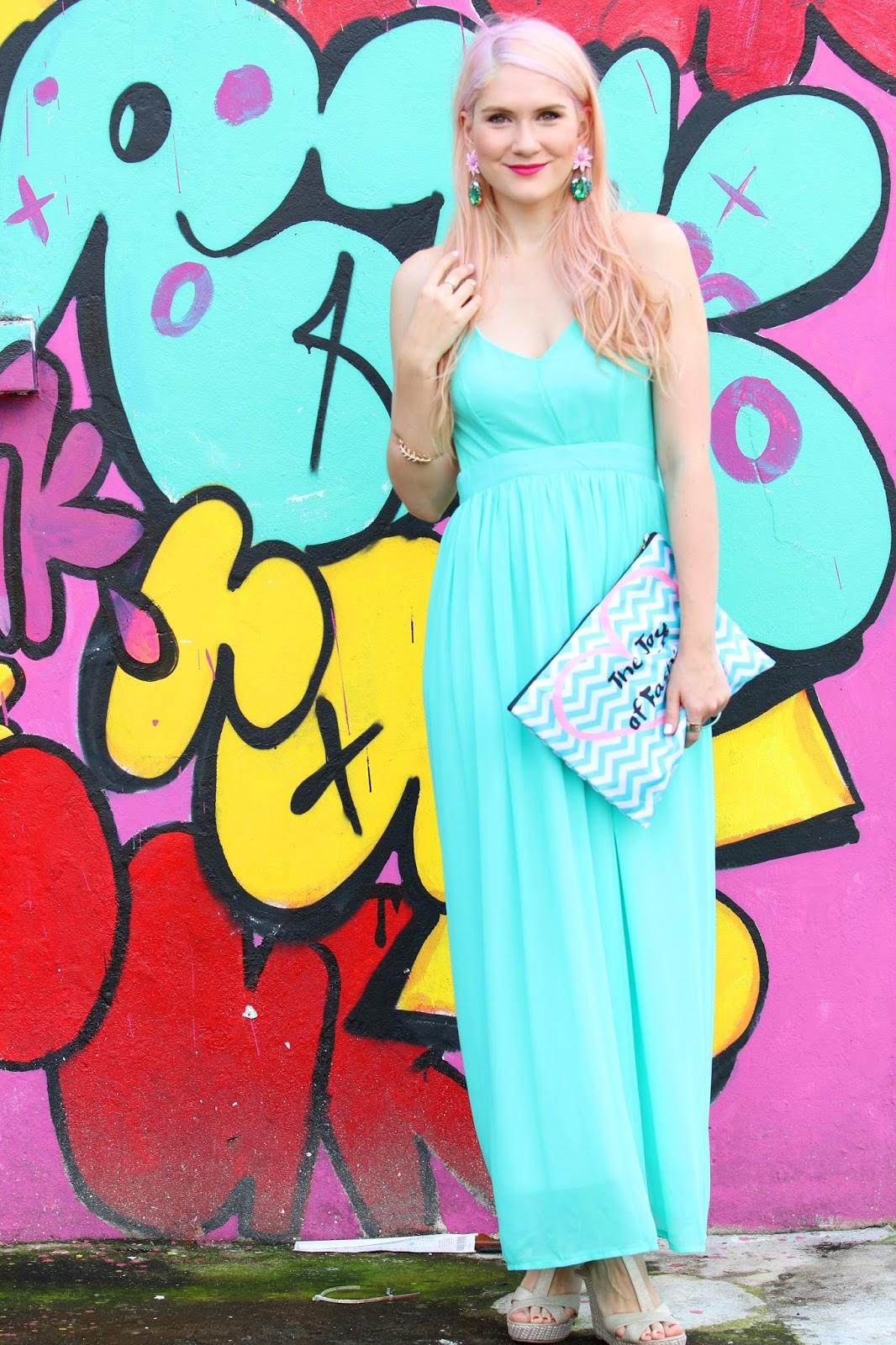 Bright aqua Spring maxi dress