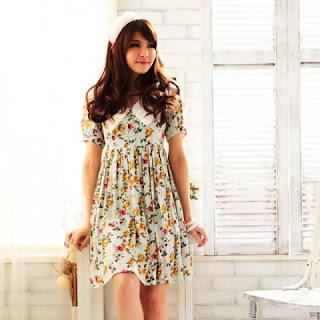 Model Baju Dress Pendek  Cantik Motif Bunga Remaja