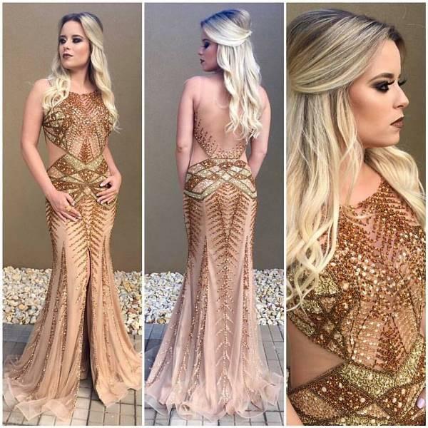 vestido de festa dourado ideal para formatura